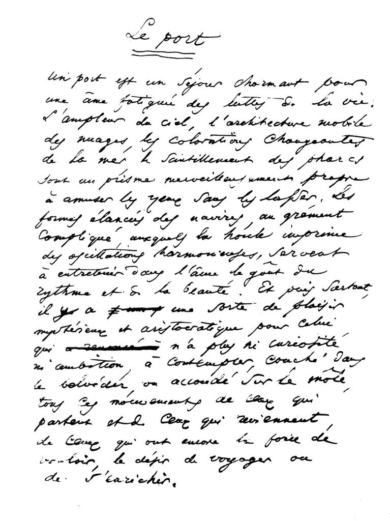 Le manuscrit du Port de Baudelaire ?