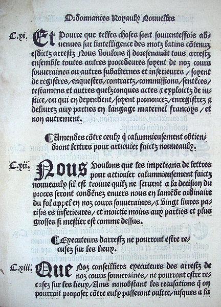 Ordonnance de Villers-Cotterêts ?