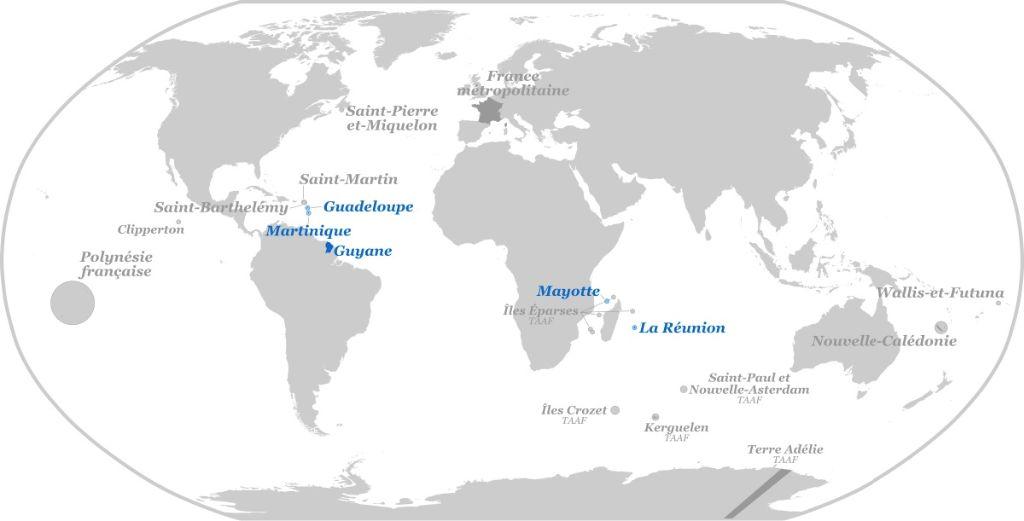 Quels sont les 5 départements d'outre-mer?