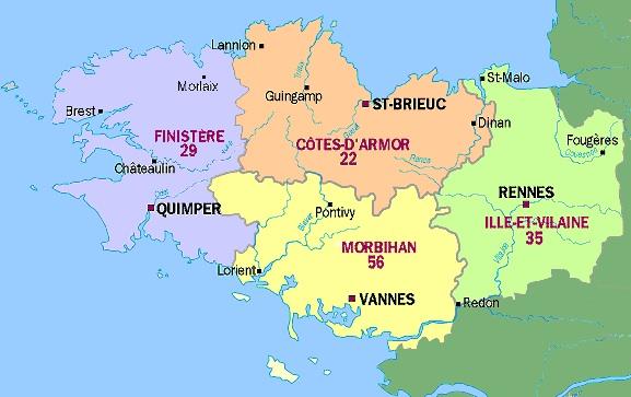 Combien de départements en Bretagne ?