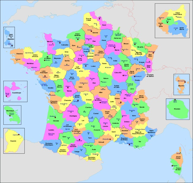 Carte des départements de France ?