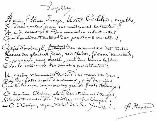 Voyelles d'Arthur Rimbaud ?